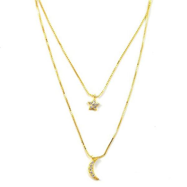 Moon & Star Lily Gold Layer Necklace