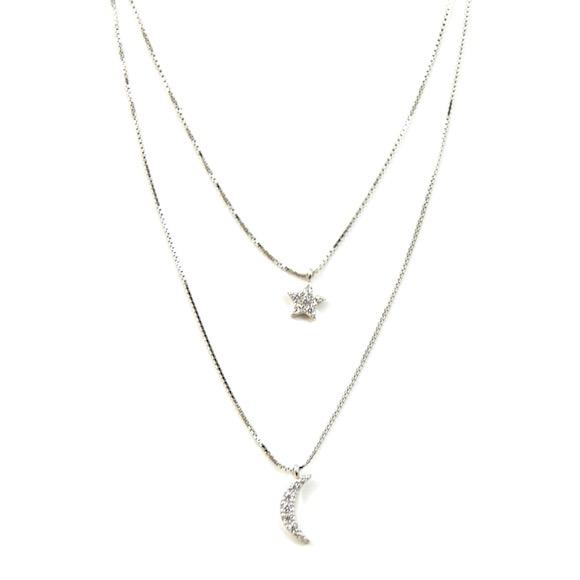 Moon & Star Lily Silver Layer Necklace