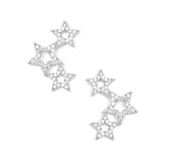 Pave Star Ear Crawler Earring