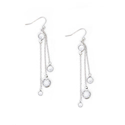 Crystal Silver Drop Earrings