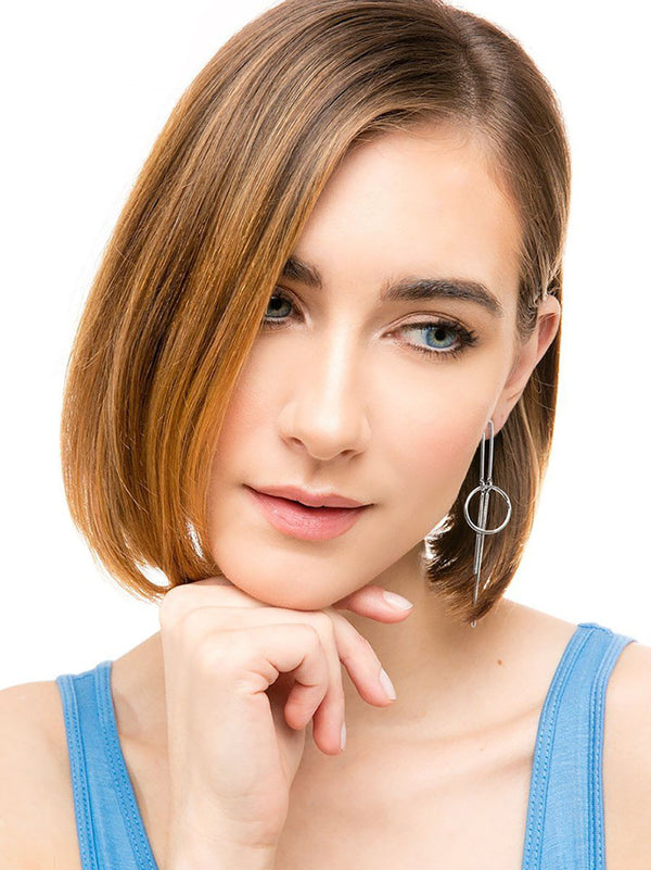 Geometric Metal Drop Earring