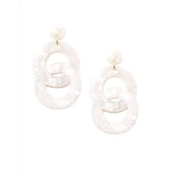 White Double Hoop Earring