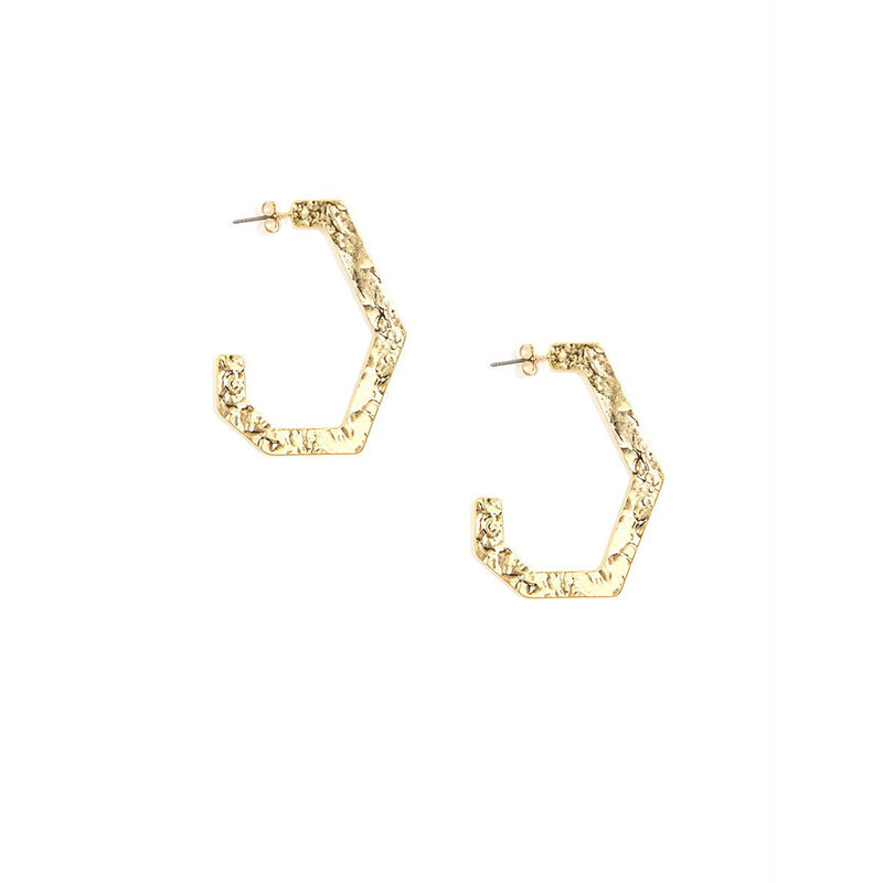 Abstract Hamered Hoop Earring