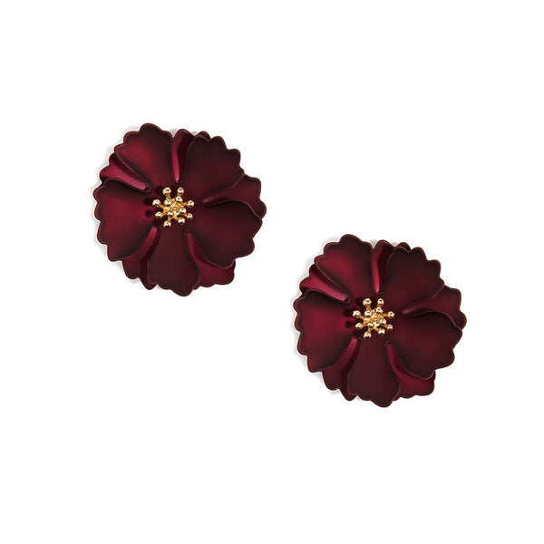 Metallic Camellia Flower Earring