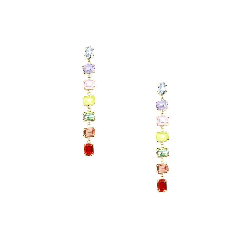 Crystal Linear Rainbow Drop Earring