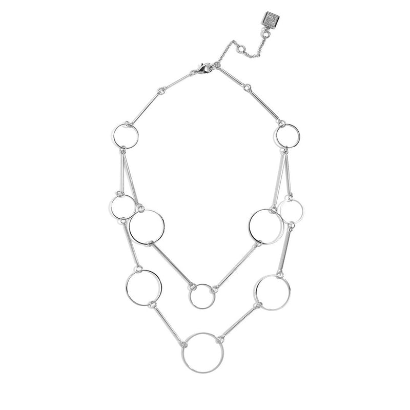 Double Strand Metal  Circles Necklace