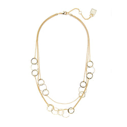 Layered Circles and Chain Collar Necklace