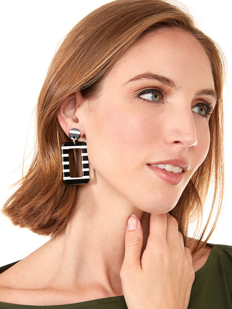 Rectangular Striped Earring