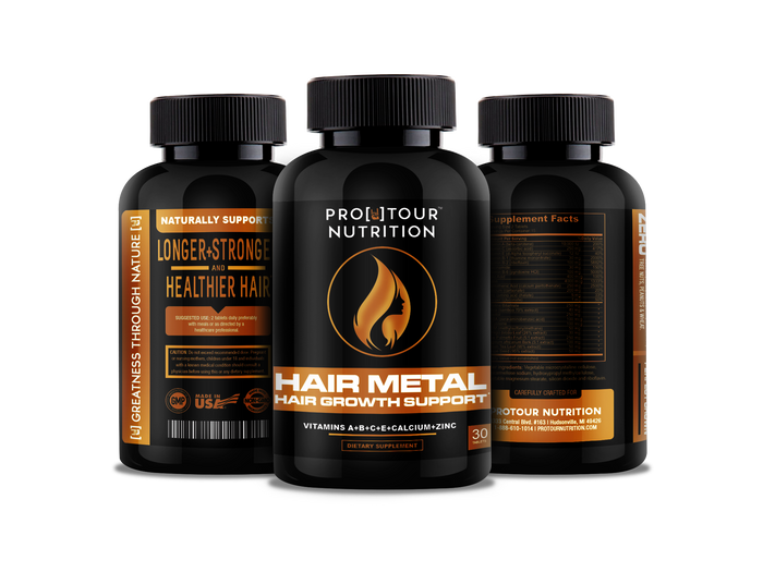 HAIR METAL -Growth Formula For Longer, Stronger, Healthier Hair - Biotin, B Vitamins, Bamboo & More! - For All Hair Types – 30 tablets