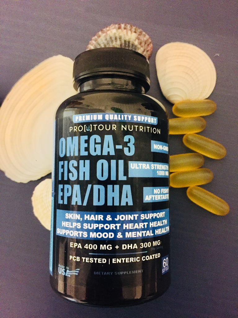 FISH OIL  - Omega 3 Fish Oil EPA/DHA Ultra Strength, Burpless, Non-GMO, PCB-Tested, 1,000mg Fish Oil/serving - 60 softgels