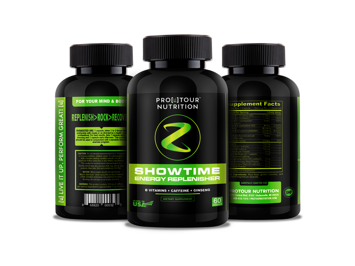 SHOWTIME - Energy Replenisher No Crash; No Jitters, All Natural – Spirulina, Biotin, Maca, Ginseng & More - 60 capsules -