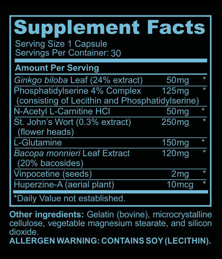 NEURO NIRVANA - Brain/Support for Memory, Focus & Clarity - Mental Performance Nootropic - 30 capsules