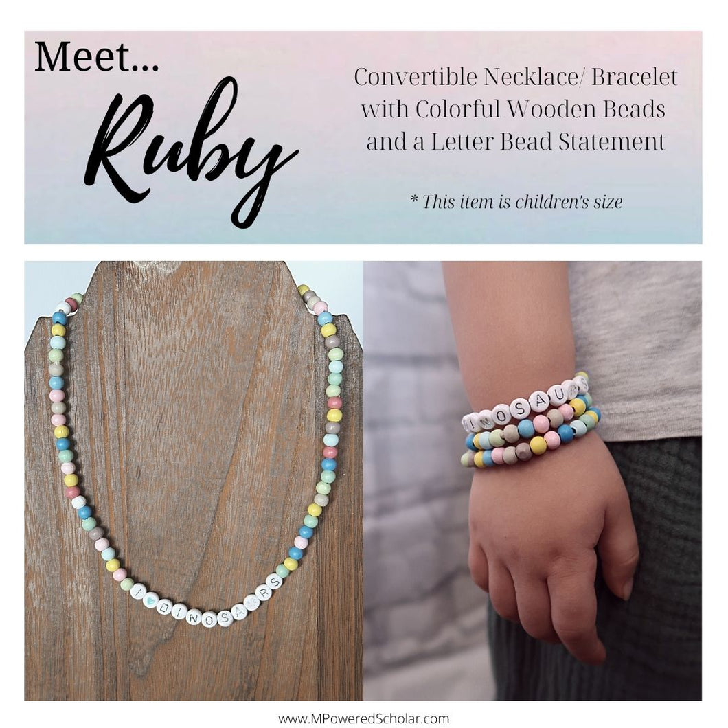 Ruby - Convertible Colorful Wooden Beaded Statement Necklace + Wrap Bracelet