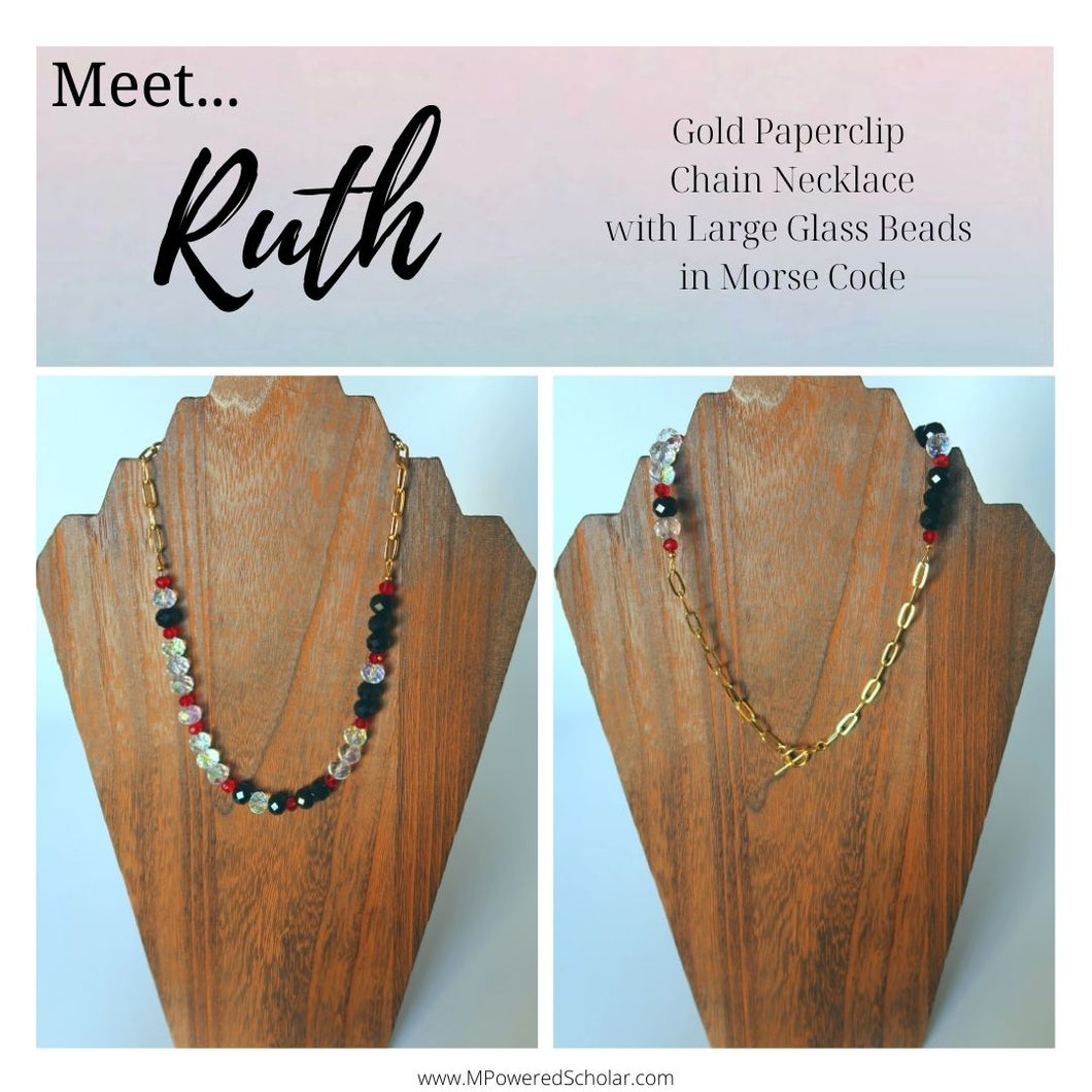 Ruth - Large Beaded Morse Code Gold Paperclip Chain Necklace