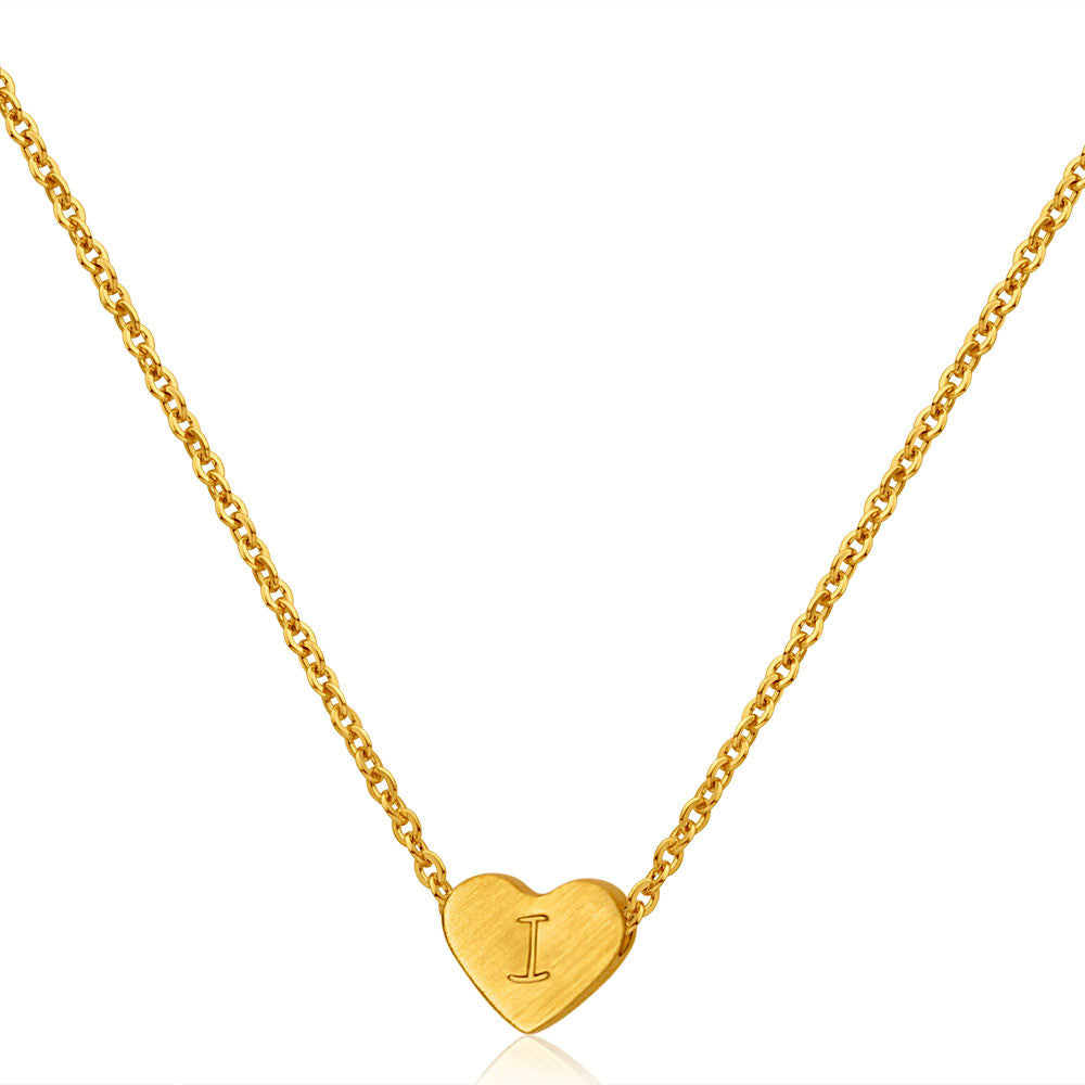 Gold Plated Love Heart Hand Stamped Necklace