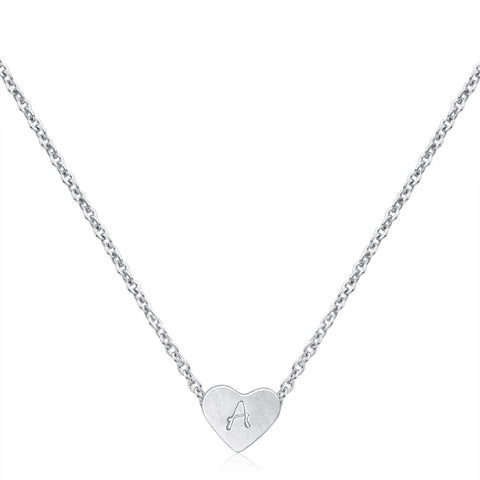 Sterling silver Love Heart Hand Stamped Necklace