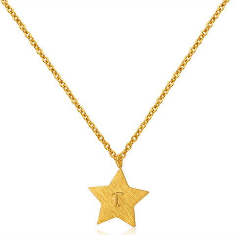 Gold Plated Star Hand Stamped Necklace