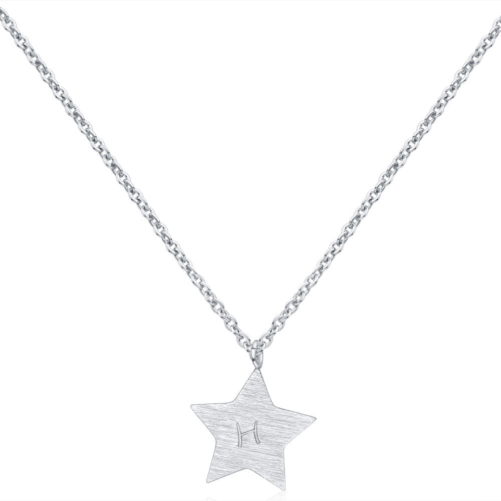 Silver Star Hand Stamped Necklace