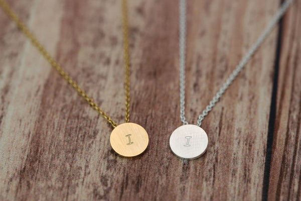 Gold Plated Mini Disc Hand Stamped Necklace