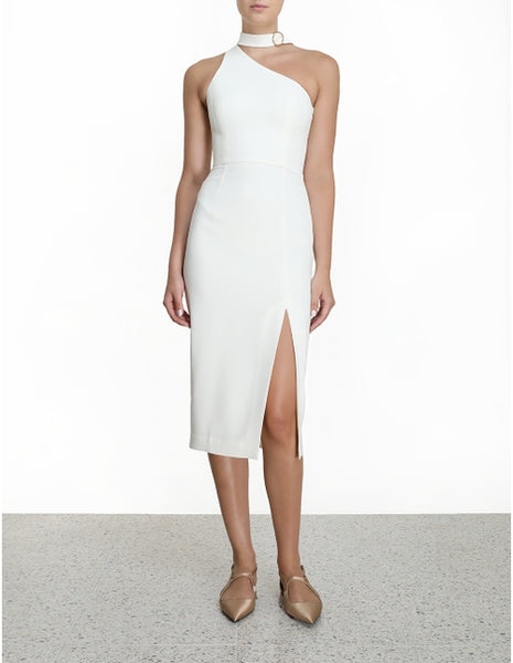 ZIMMERMANN Neck Tie Midi Dress (Pearl)
