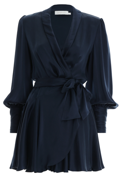 ZIMMERMANN Silk Wrap Mini Dress (Navy)