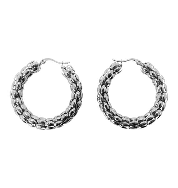 Coco Hoop Earrings Large (Silver)
