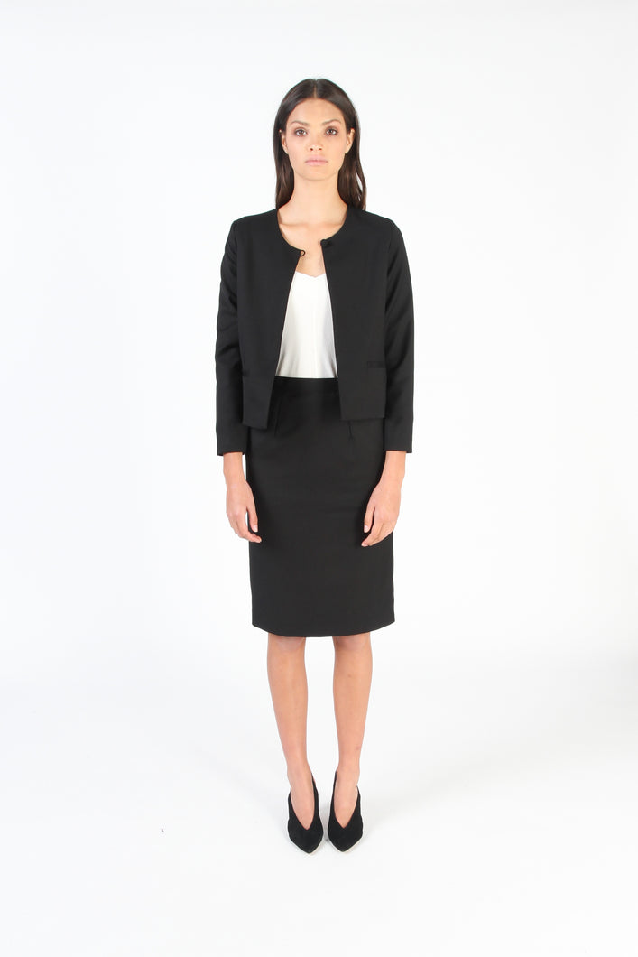 ESSK Cropped Jacket (Black / Wool Suiting)
