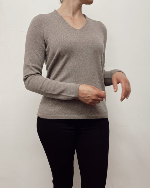 DUNE V Neck Jumper  (Walnut)