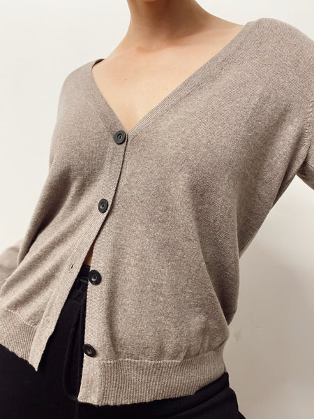 Dune Button Cardigan (Walnut)