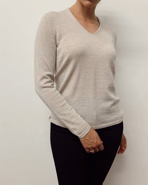 Dune V Neck Jumper (Sand)