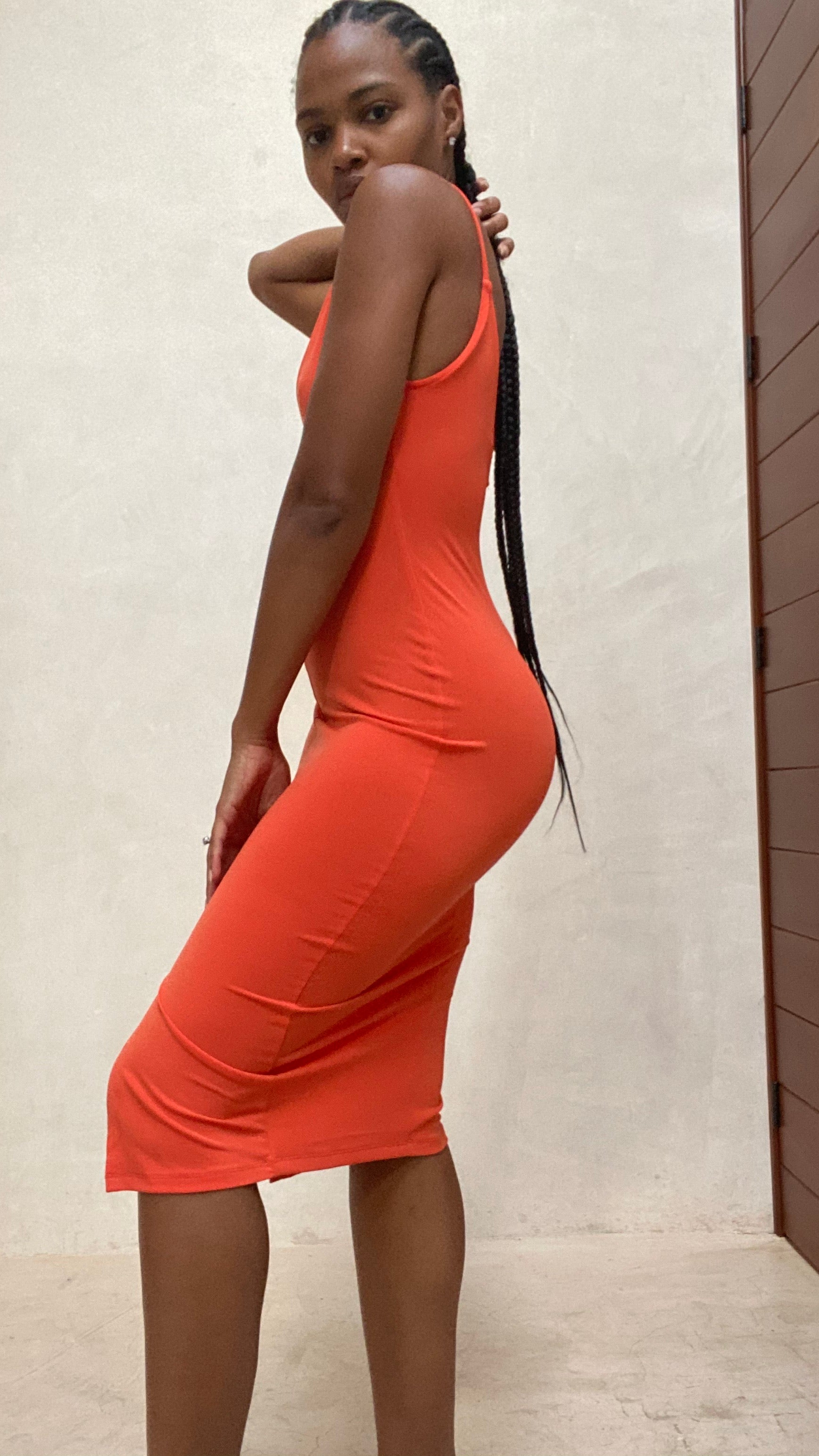 Kia High Spilt Dress (Orange)