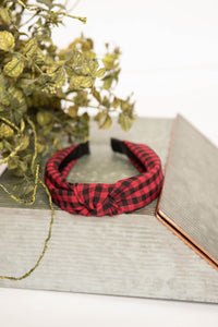 buffalo plaid knotted headband Christmas headband
