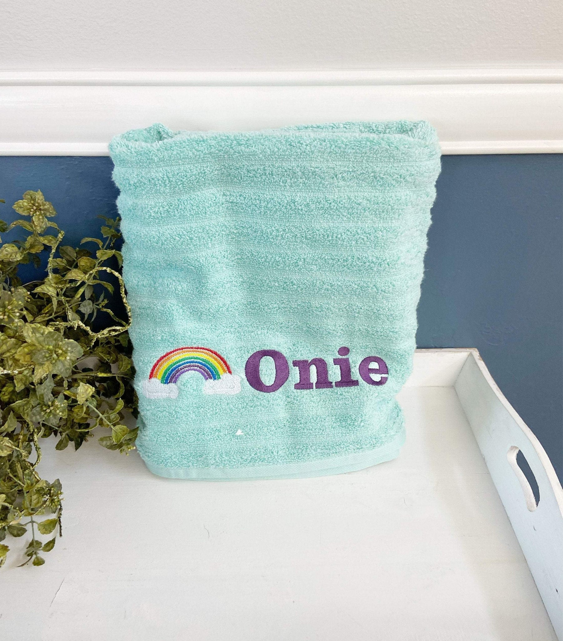 Personalized Embroidery Rainbow Bath Towel