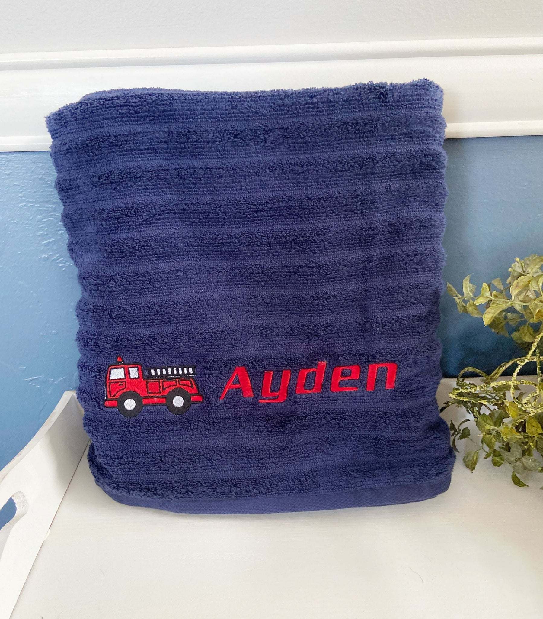 Personalized Fire Truck Towel