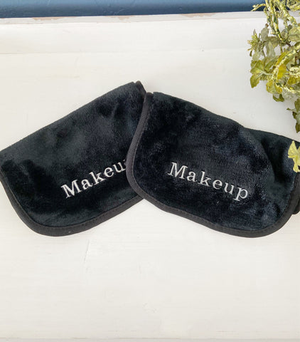 Reusable Custom Black Makeup Remover Towel with Personalized Embroidery