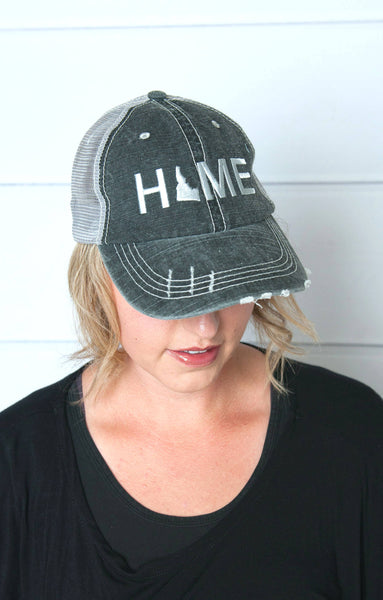 Just a small town girl hat, Wisconsin Home hat, womens hat, grey hat, home trucker hat, embroidered home hat, mothers day gift, gift for mom