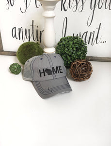 Wisconsin Home hat, womens hat, grey hat, home trucker hat, embroidered home hat, mothers day gift, gift for mom, baseball cap wisconsin hat - La Bella Rose Boutique