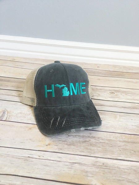 California Home hat, womens hat, grey hat, home trucker hat, california state hat, mothers day gift, gift for mom, tan cap, baseball cap