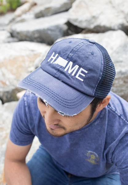 Michigan Home hat, Michigan state hat, Michigan hat, home trucker hat, embroidered hat, tan cap, baseball cap, MI grey cap, denim trucker