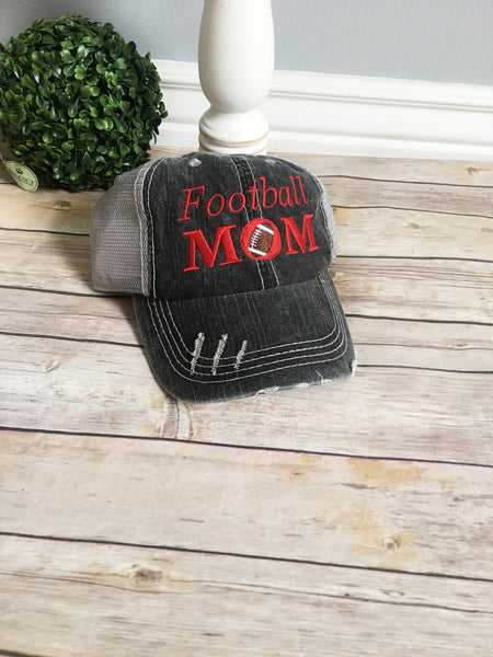 Football mom hat, womens hat, girls hat, football hat, embroidered hat, mothers day gift, gift for mom, red cap, baseball cap, cadet cap