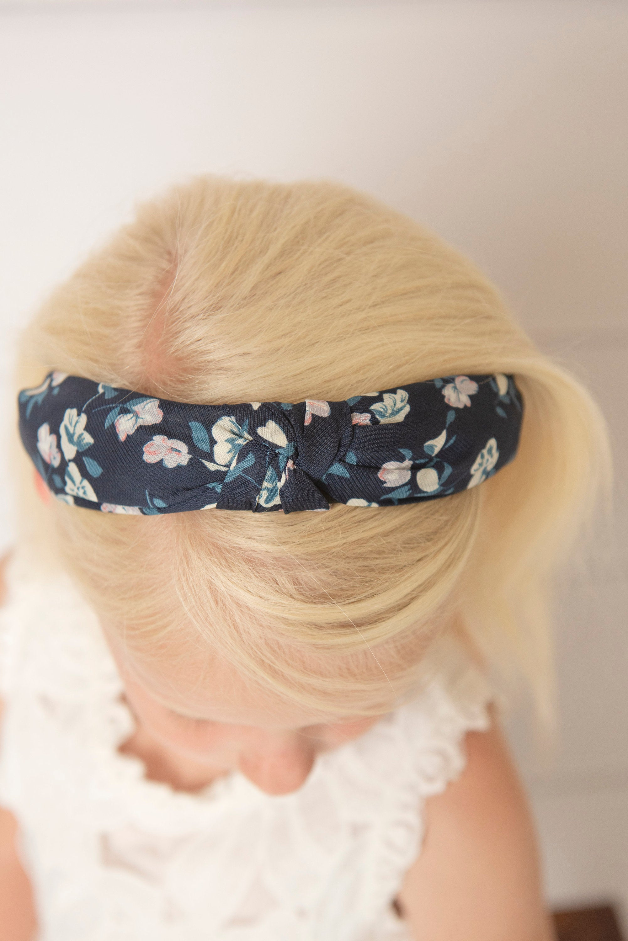 Flower print knotted hard headband for girl, womens hard headband for women, aqua knotted headband for women's headband, blush headband