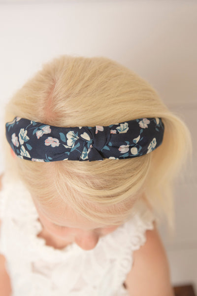 Aqua Flower knotted headband