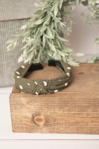 olive green knotted headband