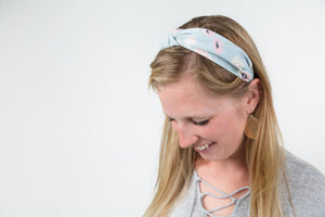 Mint knotted hard headband for girl, womens hard headband for women, aqua knotted headband for women's headband, mint ribbed headband aqua