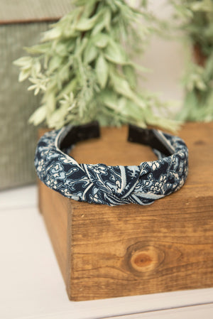 navy floral knotted hard headband for girl, womens hard headband for women, girl headband with bow, navy knotted headband for women headband