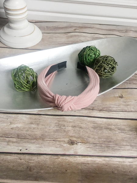 blush knotted hard headband