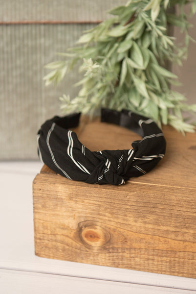 black & white knotted headband