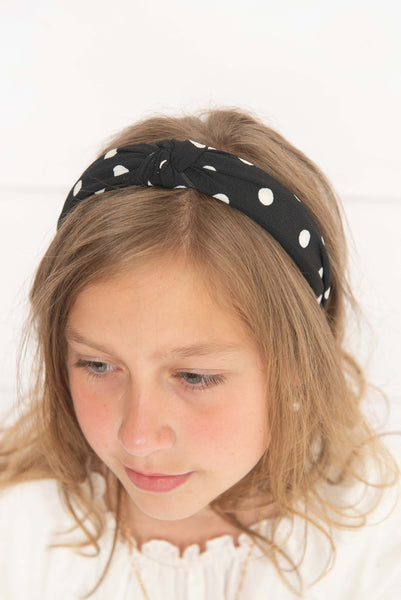 Black Polka Fabric Knotted Hard Headband