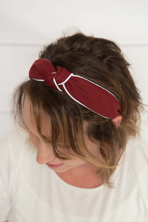burgundy knotted hard headband for girl, maroon womens hard headband for women, burgundy turban, red knotted headband for women's headband