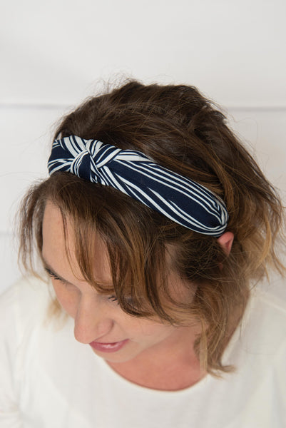 Navy Stripe  Headband
